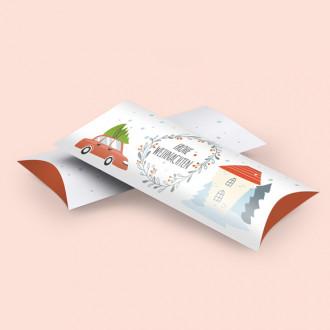 Kissenschachtel mit Weihnachtsmotiv bedruckt