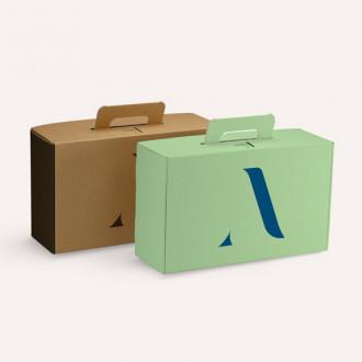 Nachhaltiger Koffer für Geschenke individuell bedrucken