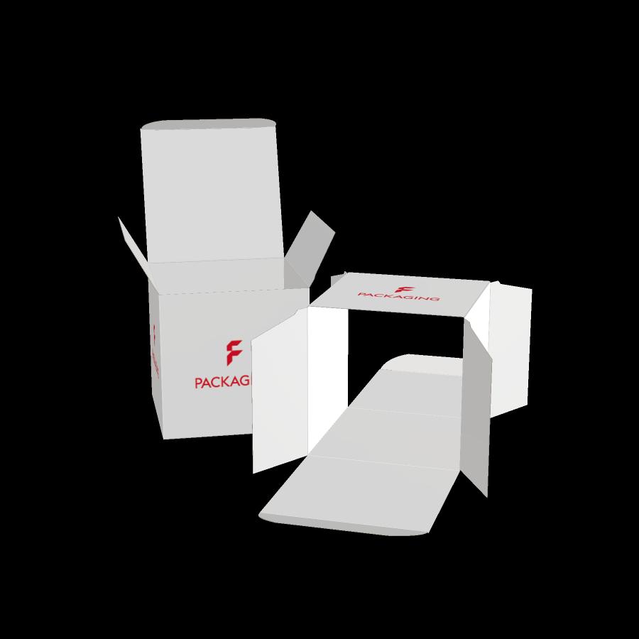 Faltschachtel mit gegenüberliegenden Einstecklaschen im Wunschformat